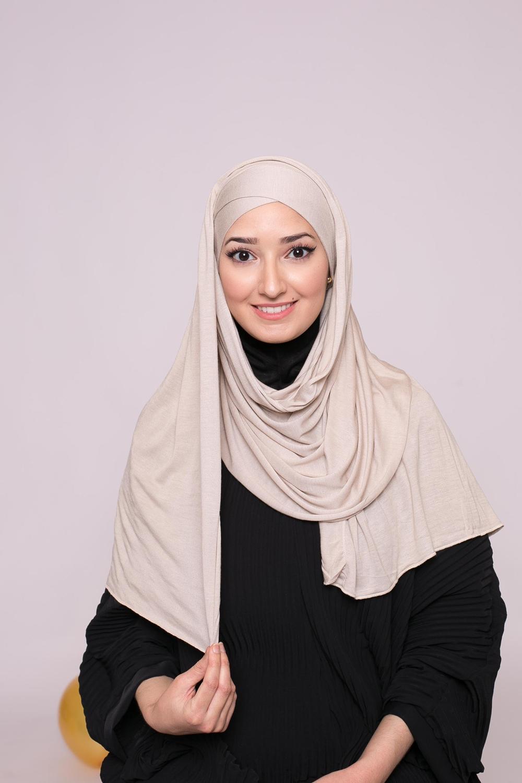 Hijab prêt à porter jersey beige grey