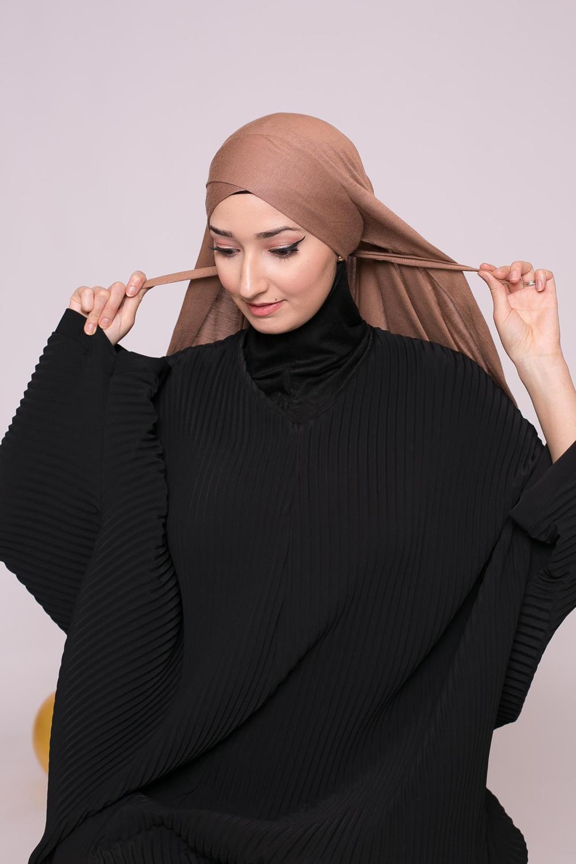 Hijab prêt à porter jersey chataigne