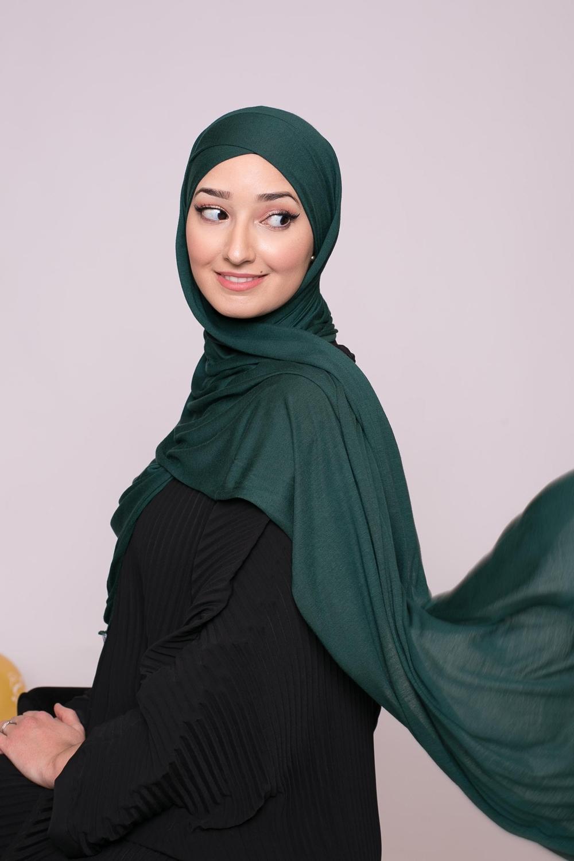 Hijab prêt à porter jersey vert