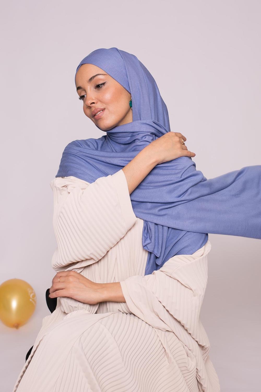 Hijab prêt à porter jersey bleu denim