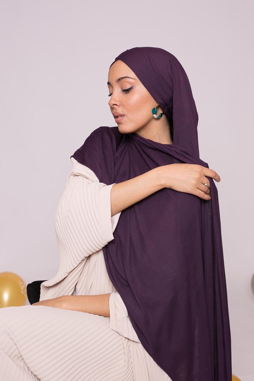 Hijab prêt à porter jersey aubergine