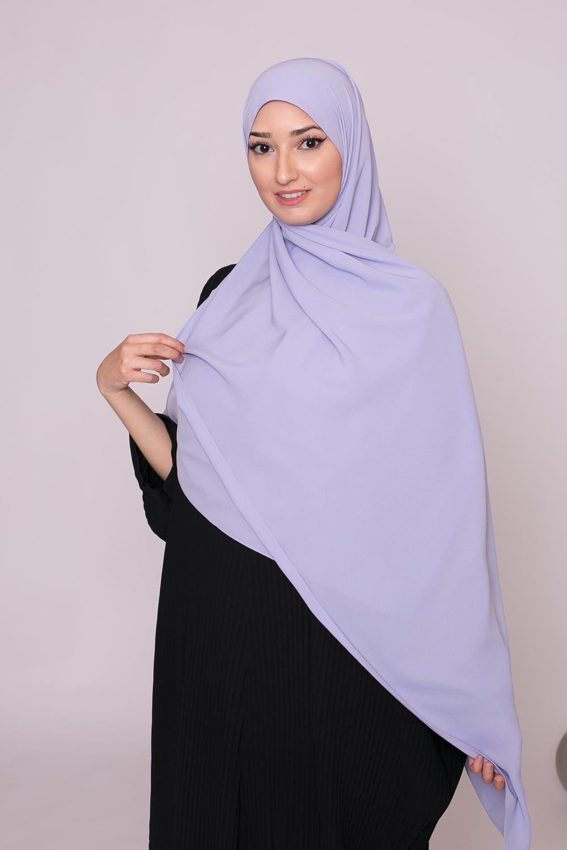Hijab soie de médine lilas