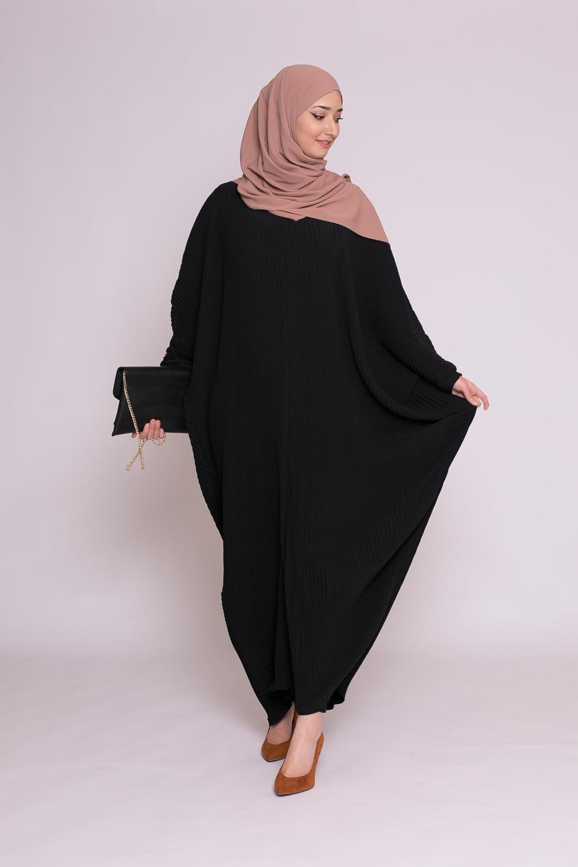 Abaya plissé noir