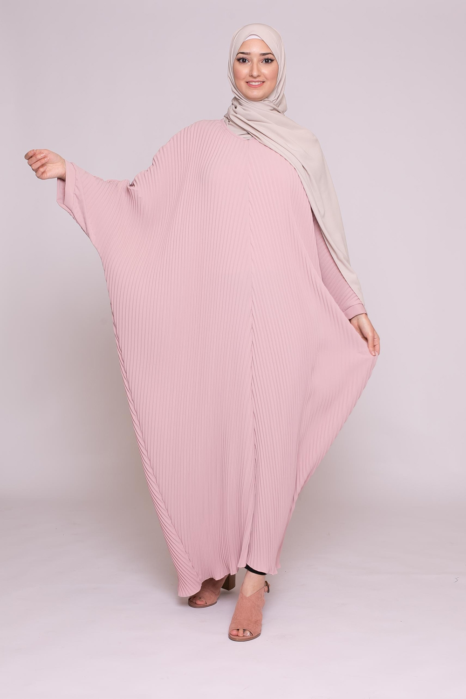 Abaya plissé rose poudré
