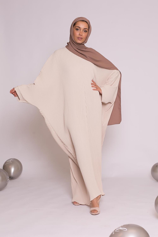 Abaya plissé beige