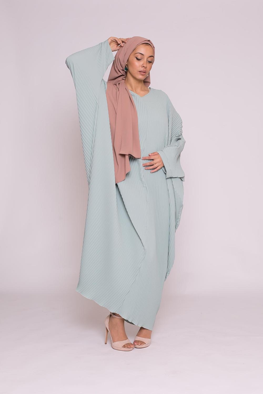 Abaya plissé vert eau