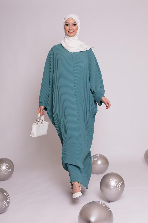 Abaya plissé bleu vert