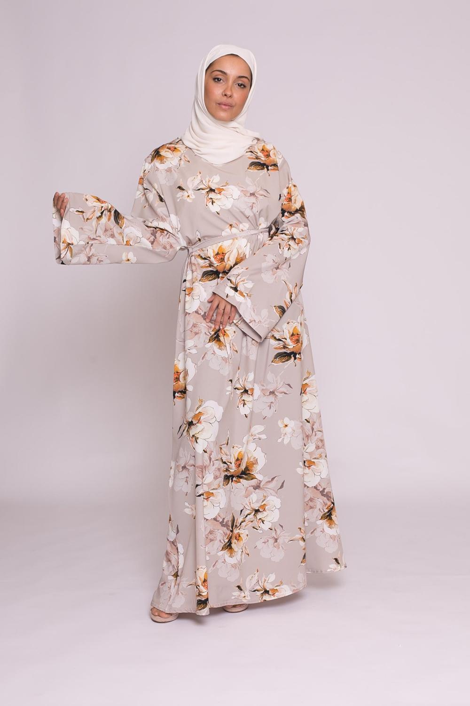 Robe fleurie beige