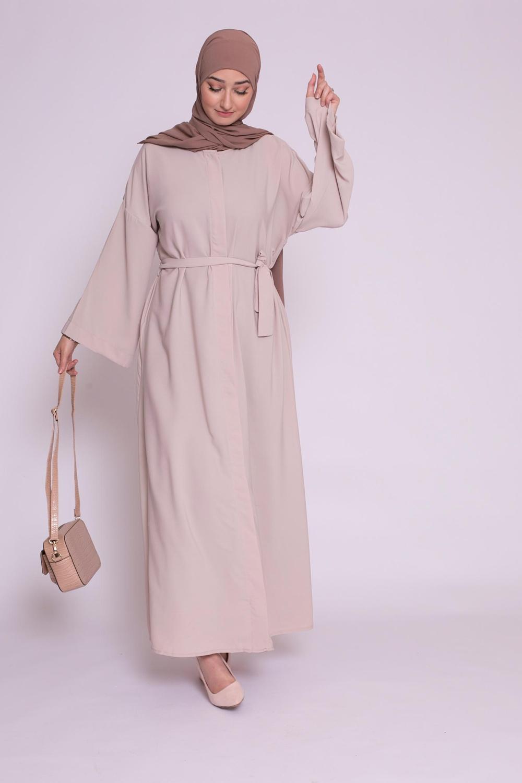 Abaya boutonnée médine beige