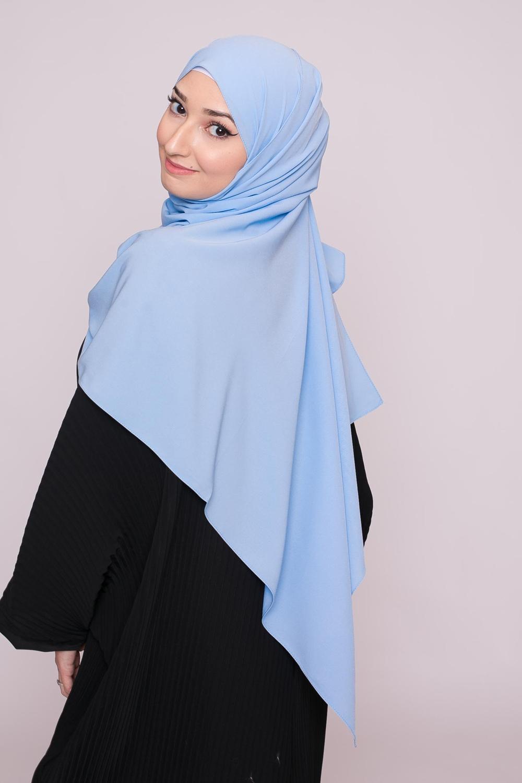 Hijab soie de médine bleu ciel