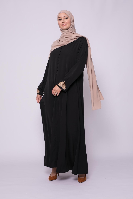 Robe brodée évasée noir