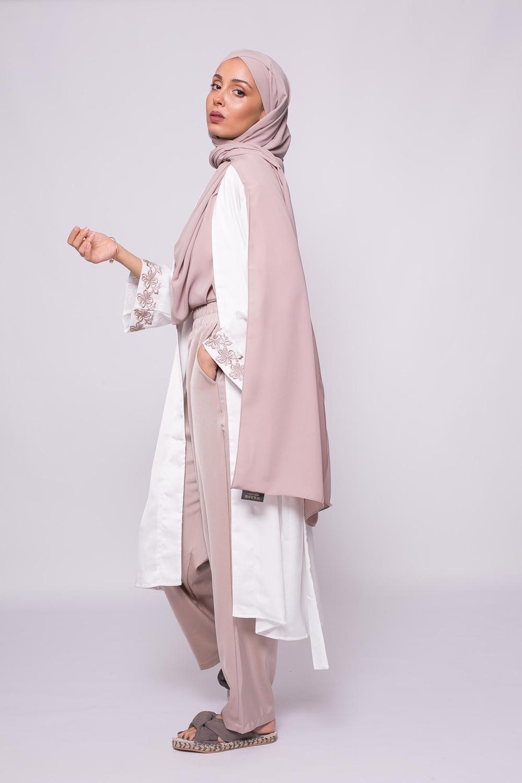 Kimono court satiné blanc