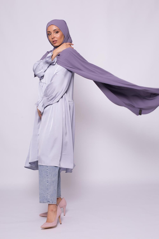 Tunique bohème chic lilas clair