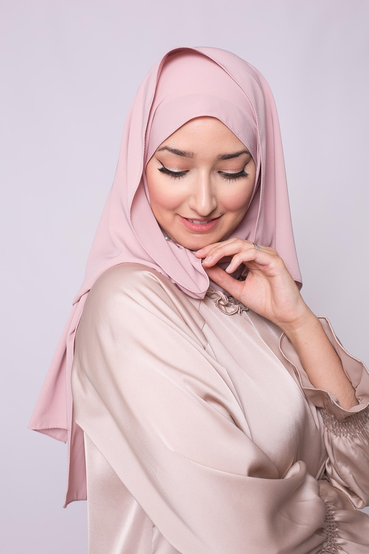 Hijab soie de médine vieux rose