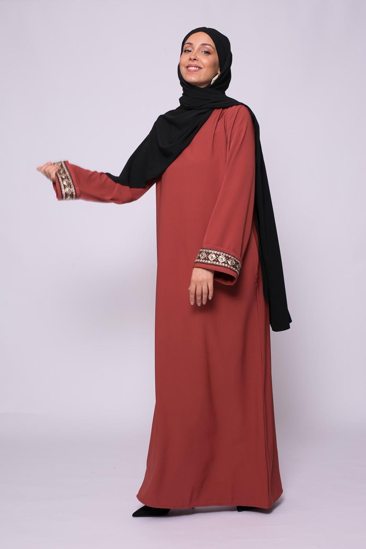 Abaya brada brique foncé