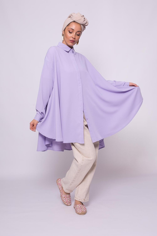 chemise oversize lilas