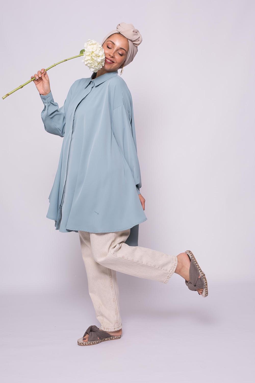 chemise oversize bleu glacé