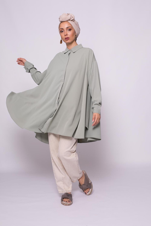 chemise oversize vert amande