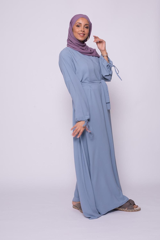 Abaya médina bleu clair