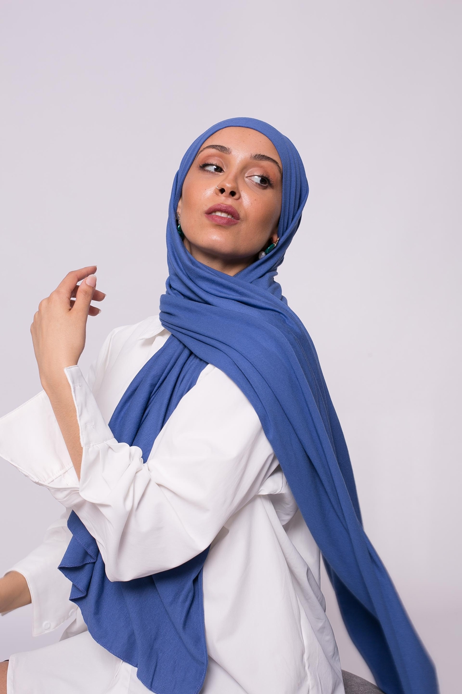 Hijab jersey luxe soft prêt à nouer denim
