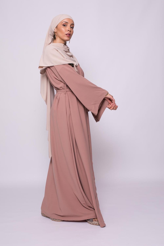 Abaya boutonnée médine noisette