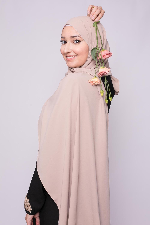 Hijab soie de médine café au lait