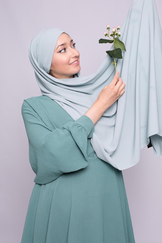 Hijab prêt à nouer soie de médine vert eau