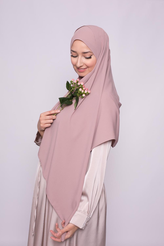 Hijab soie de médine rose marroné
