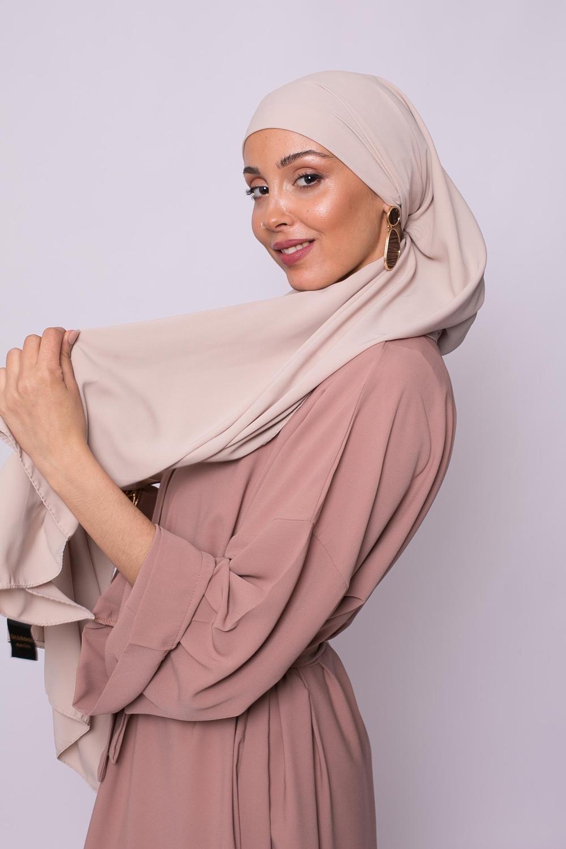 Hijab soie de médine beige