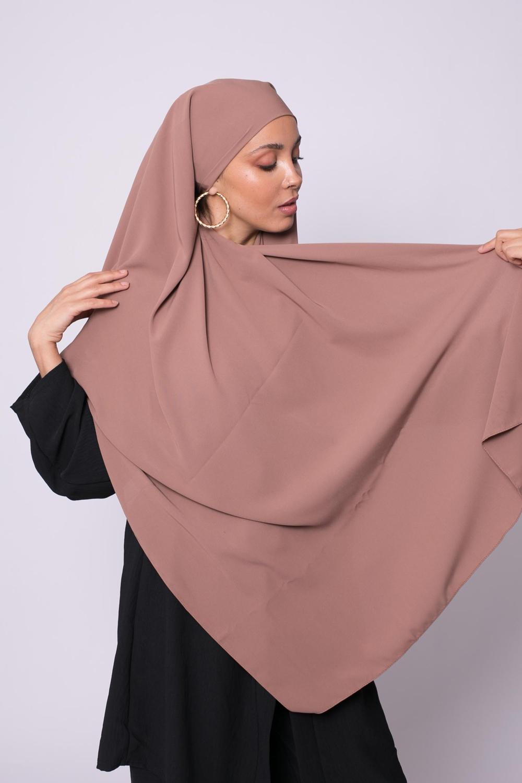 Hijab soie de médine chataigne