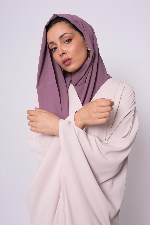 Hijab soie de médine prune