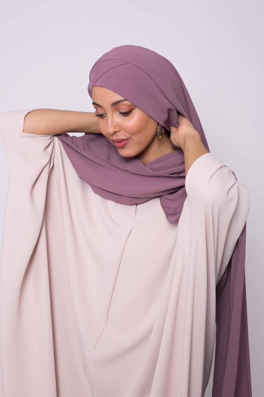 Hijab croisé à nouer soie de médine prune