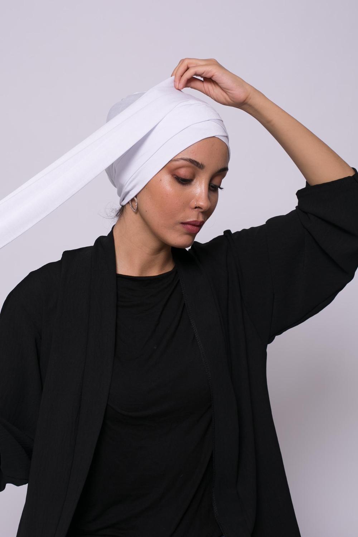 Turban viscose croisé blanc