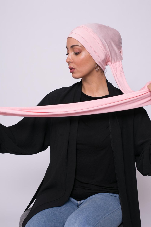Turban viscose croisé rose