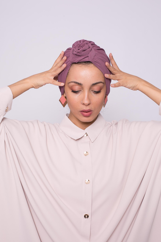 Turban noeud tourbillon prune