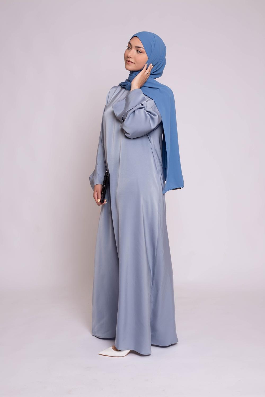 Abaya luxery satiné bleu perlé