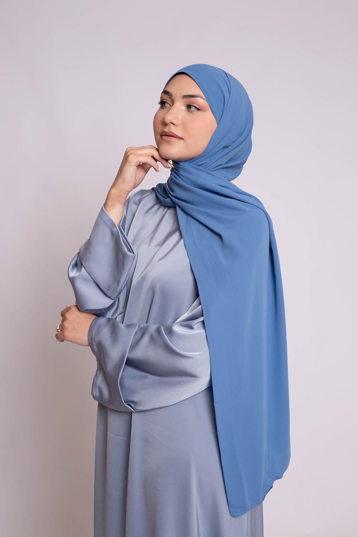 Hijab soie de médine bleu jeans