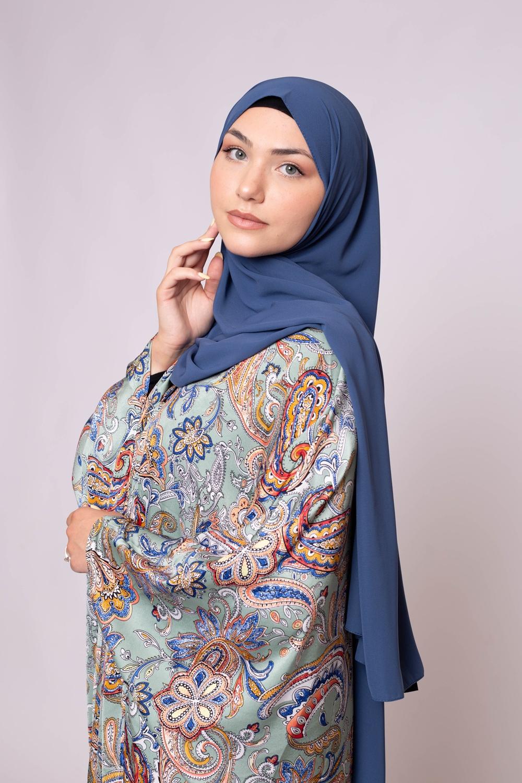 Hijab soie de médine bleu pétrole