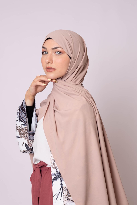 Hijab soie de médine beige taupe