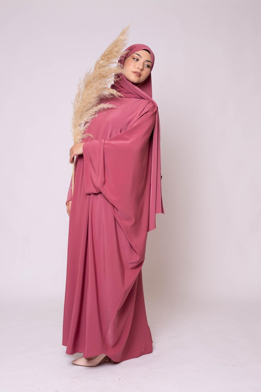 Ensemble Abaya hijab kristal terre cuite