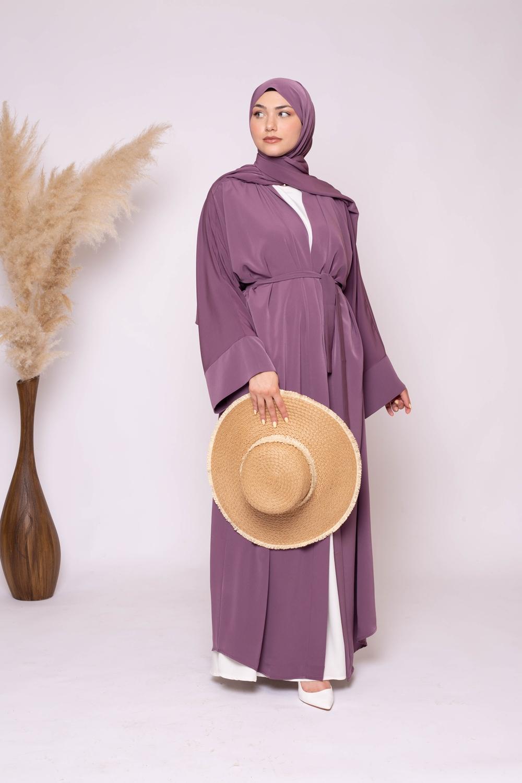 Ensemble kimono hijab lilas foncé