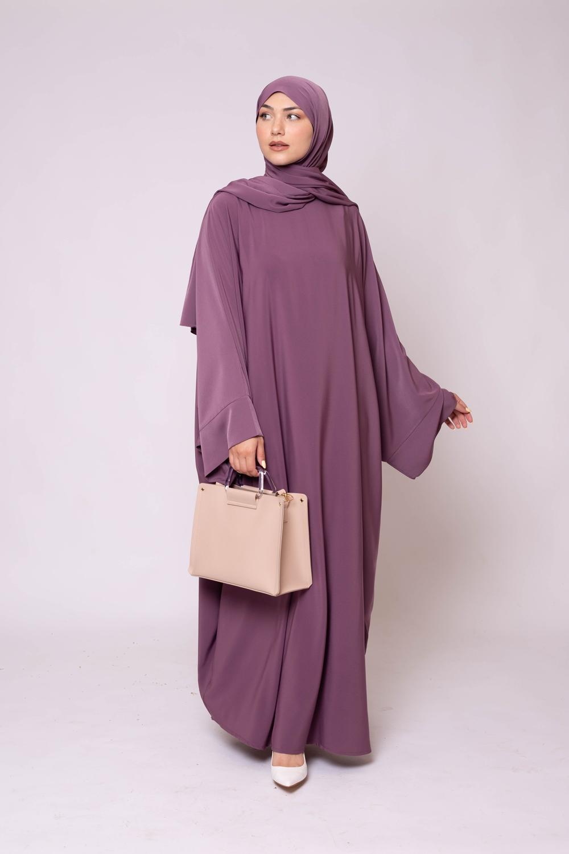 Ensemble Abaya hijab kristal lilas fonçé
