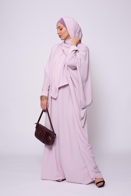 Ensemble Abaya hijab kristal lilas rosé