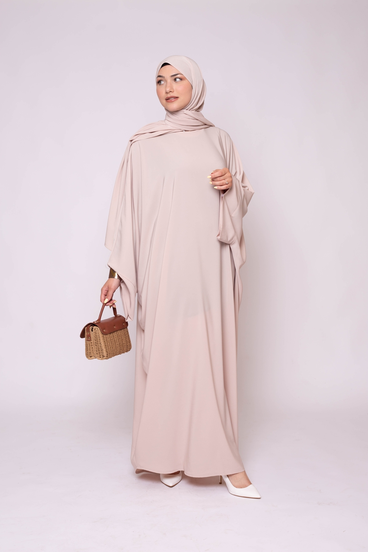 Ensemble Abaya hijab kristal nude