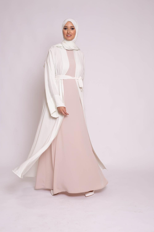 Ensemble kimono hijab blanc cassé