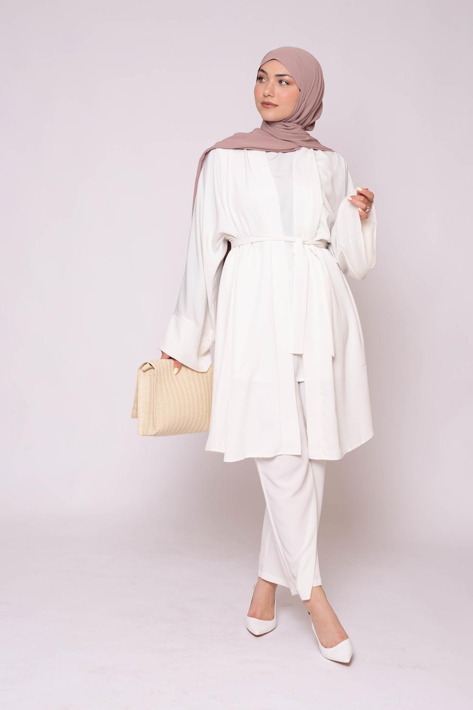 Veste kimono blanc cassé