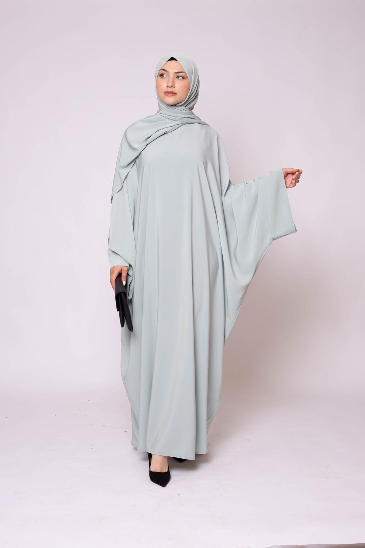 Ensemble Abaya hijab kristal vert eau