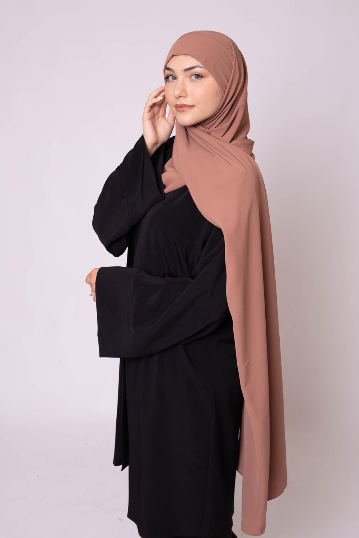 Hijab prêt à nouer soie de médine camel