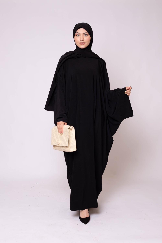 Ensemble Abaya hijab kristal noir