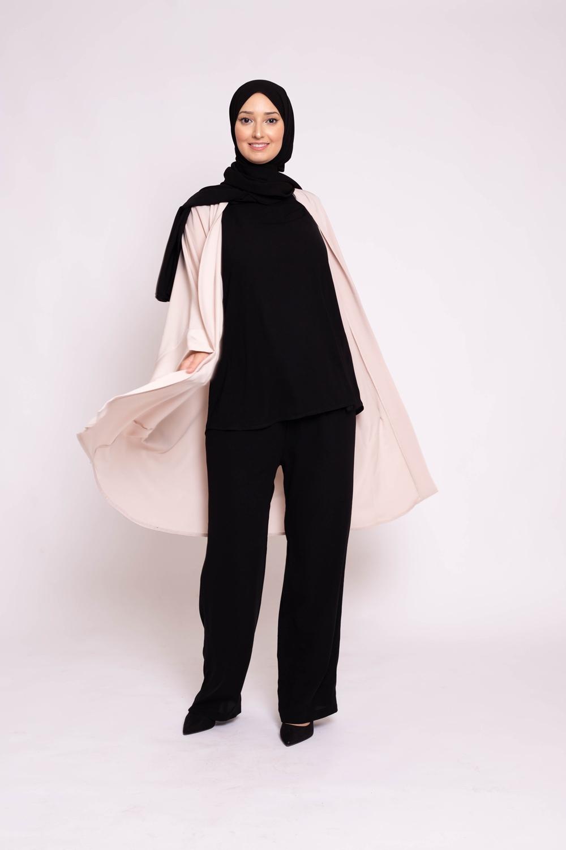 Ensemble pantalon tunique sans manche noir